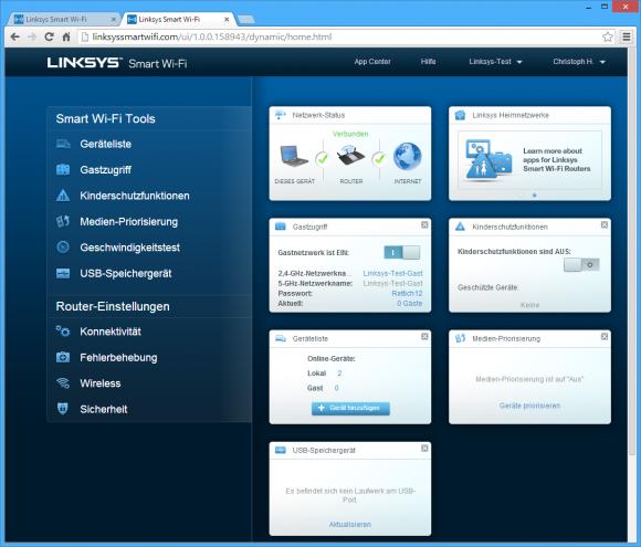 Auf der Startseite gibt es neben dem Menü (links) auch konfigurierbare Widgets (rechts). Die Softwareausstattung ist allerdings nur Mittelmaß (Bild: ZDNet.de)