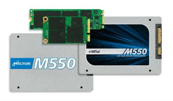 Die Crucial M550 bietet Micron als 2,5-Zoll-SATA-Modell sowie in den gehäuselosen Formfaktoren mSATA und M.2 an (Bild: Micron).