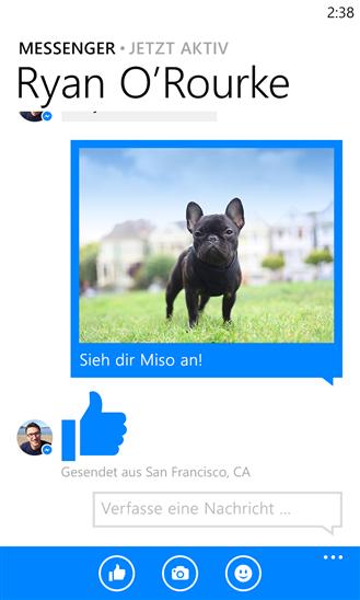 Facebook Messenger für Windows Phone erlaubt auch den Versand von Fotos (Bild: Facebook).