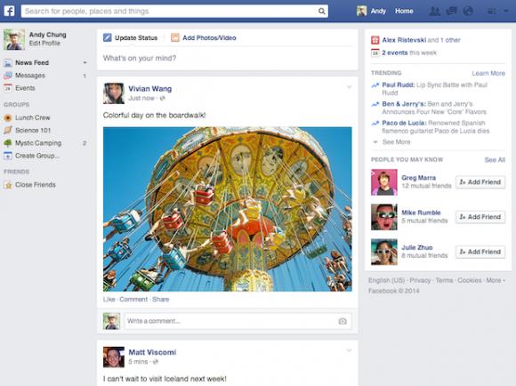 Der News Feed der Desktopversion ähnelt nun mehr dem der Mobilvariante (Bild: Facebook).