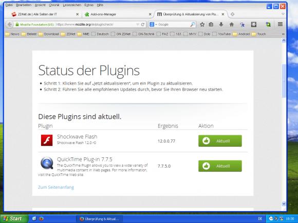 Firefox achtet darauf, dass Plug-ins immer aktuell sind.