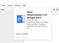 Add-ons in Google Docs (Screenshot: ZDNet.de)