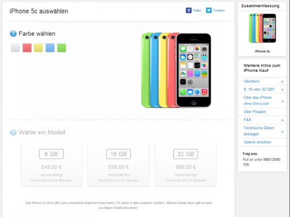 Das iPhone 5C gibt es jetzt auch mit 8 GByte Speicher für 549 Euro (Screenshot: ZDNet.de).