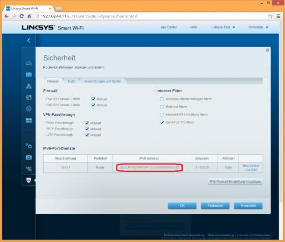 Die IPv6-Firewall ist gänzlich untauglich. Man muss die vollständige IPv6-Adresse angeben, wenn Ports geöffnet werden sollen. Ändert sich die Adresse des vom Provider zugewiesenen Netzes, müssen alle Firewallregeln angepasst werden. Andere Router, zum Beispiel Fritzbox, verlangen hier nur den Hostteil der Adresse und lösen so das Problem. (Bild: ZDNet.de)