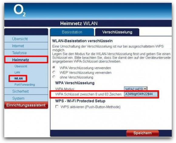 Der WLAN-Schlüssel der O2-Router lässt sich über die Weboberfläche ändern (Bild: O2).