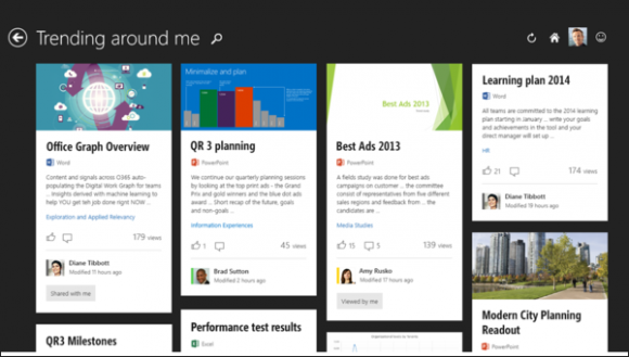 Die auf Office Graph basierende App Oslo zeigt Informationen über Personen oder Dokumente in einer Kartenansicht an (Bild: Microsoft).