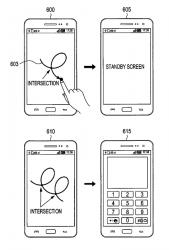 Eine Zeichnung mit einem Schnittpunkt versetzt das Telefon in den Standby-Modus. Eine Figur mit zwei Schnittpunkten könnte es wieder aufwecken (Bild: Samsung/ US Patent and Trademark Office).