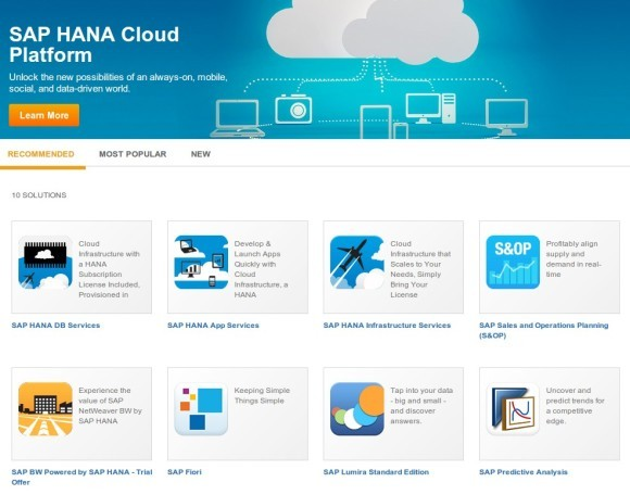 Der neu eröffnete SAP HANA Marketplace (Screenshot: ZDNet.de)