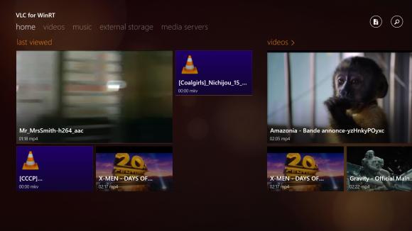 Der Homescreen von VLC für Windows 8 zeigt unter anderem die zuletzt betrachteten Dateien an (Bild: VideoLAN).