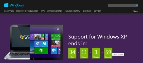 Der Support für Windows XP endet in weniger als 35 Tagen (Screenshot: ZDNet).