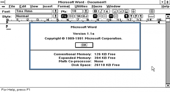 Word for Windows 1.1a erschien 1982 (Bild: CHM).