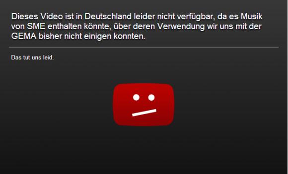 Ein von Youtube leicht abgeänderter Sperrhinweis (Screenshot: ZDNet.de)