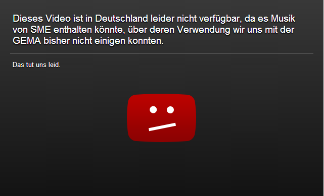 Nach Hinweisen auf Urheberrechtsverletzungen muss Youtube Videos sperren (Screenshot: ZDNet.de).