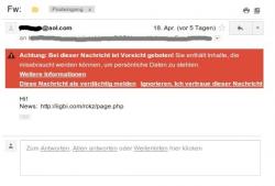 Spammail von AOL mit Gmail-Warnhinweis (Screenshot: Bernd Kling)