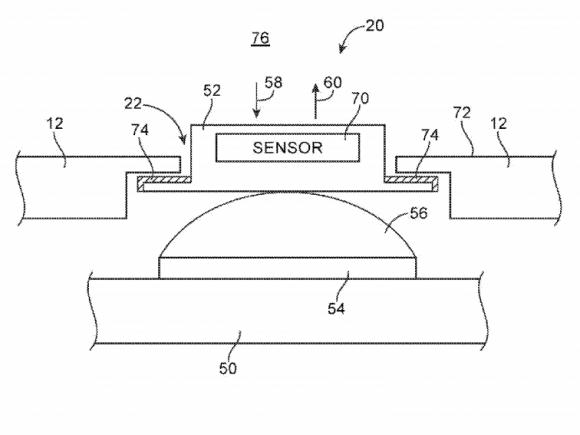 Einer von Apples Patentanträgen sieht einen in einem Geräteknopf integrierten Sensor zur Temperaturmessung vor (Bild: Apple).