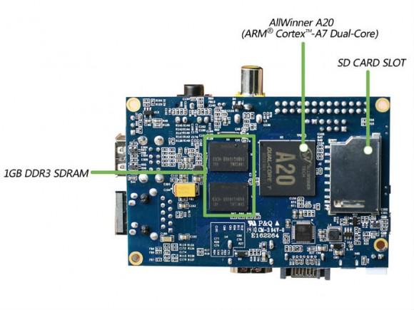Der Banana Pi bietet einen schnelleren Prozessor und doppelt so viel Arbeitsspeicher wie der Rapsberry Pi Model B (Bild: Lemaker.org).