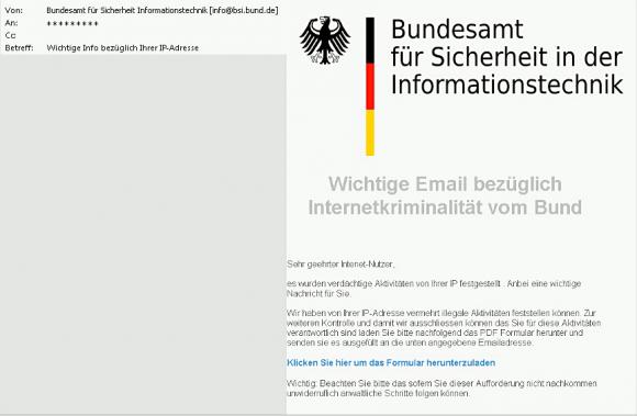 Beispiel für die BSI-Phishing-Mail (Screenshot: BSI)