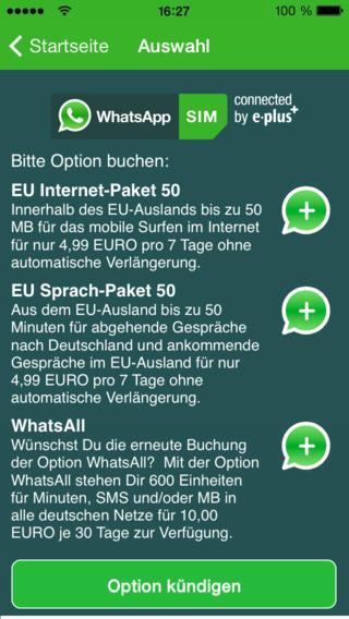"""E-Plus bietet für """"WhatsApp SIM"""" mehrere Zusatzoptionen an, die sich auch per App buchen lassen (Bild: E-Plus)."""