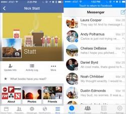 Ein blauer Balken ermöglicht in Facebook Messenger für iOS (rechts) die Rückkehr zur Haupt-App (Screenshot: News.com).