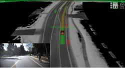 Ein selbstlenkendes Auto erkennt das Handzeichen eines linksabbiegenden Radfahrers (Bild: via Youtube).
