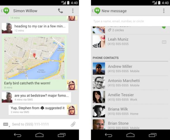 Hangouts 2.1 für Android bringt eine kombinierte Ansicht für SMS und Chatnachrichten sowie eine vereinfachte Kontaktliste (Bild: Google).