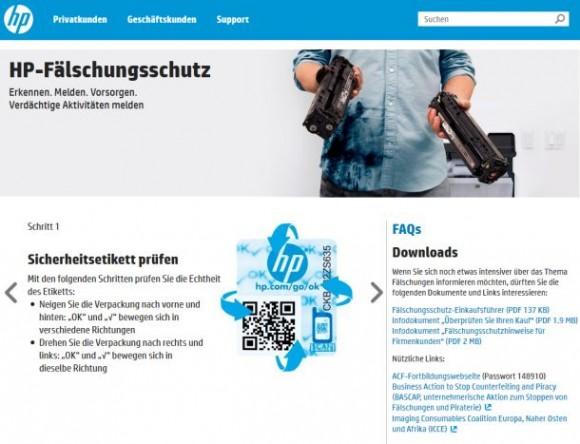 Das Erkennen von Produktfälschungen will HP mit einem QR-Code erleichtern. Das Geschäft der Refiller brandmarkt der Konzern in seiner Bildersprache als schmutziges Handwerk – völlig zu Unrecht, wie diese beteuern (Screenshot: ITespresso).