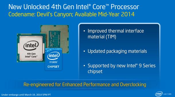 Bei den Haswell-CPUs mit dem Codenamen Devil's Canyon setzt Intel eine andere Wärmeleitpaste ein (Bild: Intel).