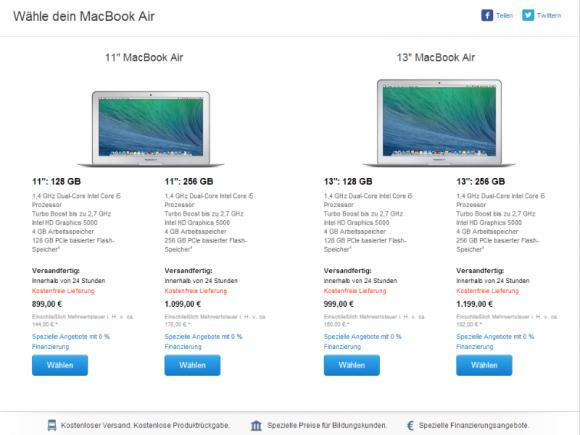Apple bietet das aktualisierte MacBook Air 100 Euro günstiger an (Screenshot: ZDNet.de).