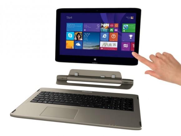 Das Akoya S6214T lässt sich als Notebook, Tablet oder All-in-One-PC nutzen (Bild: Medion).