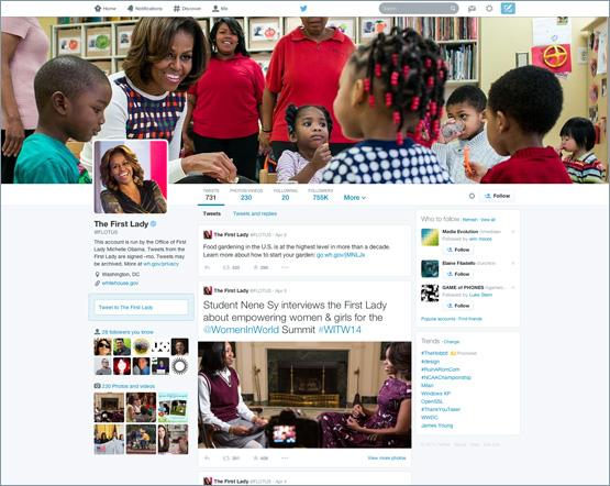 Das neue Profil-Design hat Twitter bisher nur für wenige Nutzer freigeschaltet, darunter Michelle Obama, Ehefrau des US-Präsidenten Barack Obama (Bild: Twitter).
