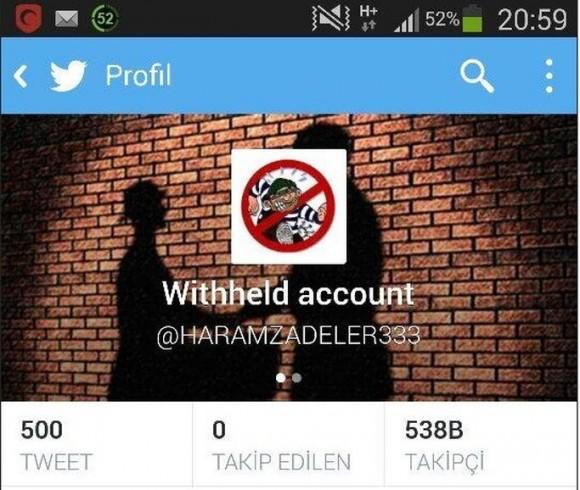 Gesperrtes Twitterkonto aus Sicht türkischer Nutzer (Screenshot: @haciyev)