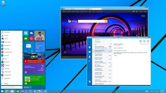 Auf das neue Mini-Startmenü werden Windows-8.1-Nutzer bis nächstes Frühjahr warten müssen (Bild: Microsoft).