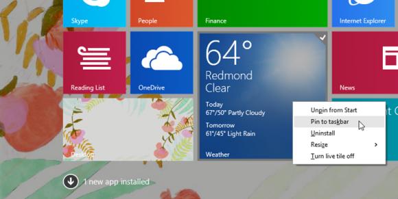 Modern-Apps lassen sich nach Installation des Update 1 für Windows 8.1 über das neue Rechtsklickmenü an die Taskleiste anheften (Bild: Microsoft).