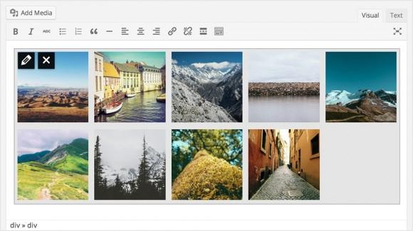 Der visuelle Editor von WordPress 3.9 zeigt statt eines Platzhalters nun direkt die Galeriebilder an (Bild: WordPress.org).