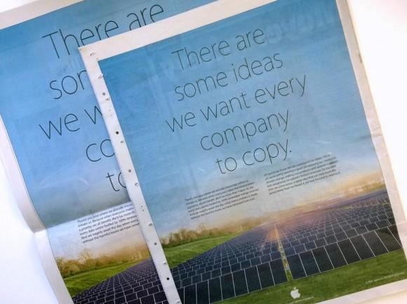 In ganzseitigen Zeitungsanzeigen stellt sich Apple als grünes Vorbild dar (Bild: Rich Trenholm / CNET)