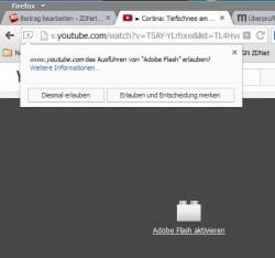 Firefox fragt nun nach, ob der Nutzer ein Plug-in wie Adobe Flash ausführen möchte. Dabei lässt sich auch eine dauerhafte Genehmigung erteilen (Bild: Mozilla).