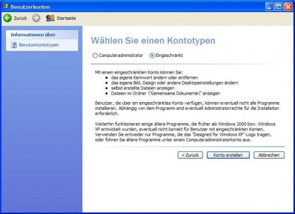 XP absichern: eingeschränktes Konto einrichten