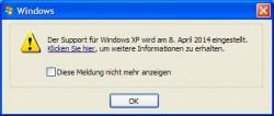 """XP-Support: Der Hinweis über das Ende des Supports lässt sich über """"Geplante Tasks"""" abschalten"""