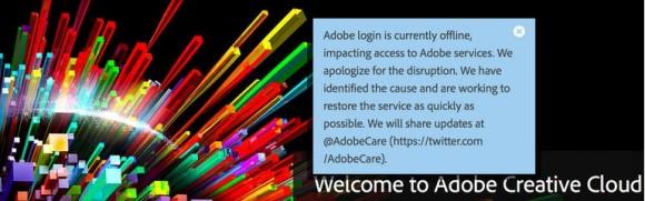 Ausfall der Adobe creative Cloud (Screenshot: News.com)