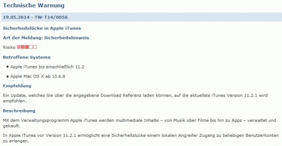 BSI warnt vor iTunes (Screenshot: ZDNet.de)