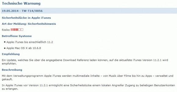 BSI warnt vor iTunes (Screenshot: ZDNet.de)