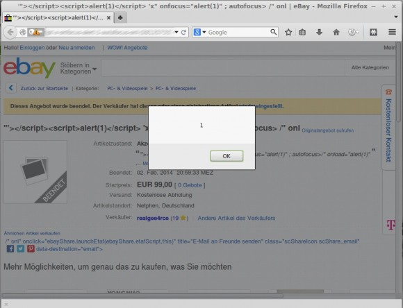XSS-Lücke auf Ebay entdeckt
