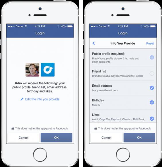 Beim Anmelden mit Facebook soll der Nutzer über die Weitergabe persönlicher Daten im Einzelnen bestimmen können (Bild: Facebook).