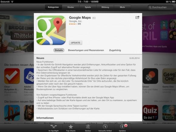 Google hat in seiner Karten-App Maps Offline-Unterstützung in Form einer Möglichkeit eingeführt, Kartenausschnitte herunterzuladen.