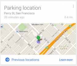 Parkplatzkarte in Google Now