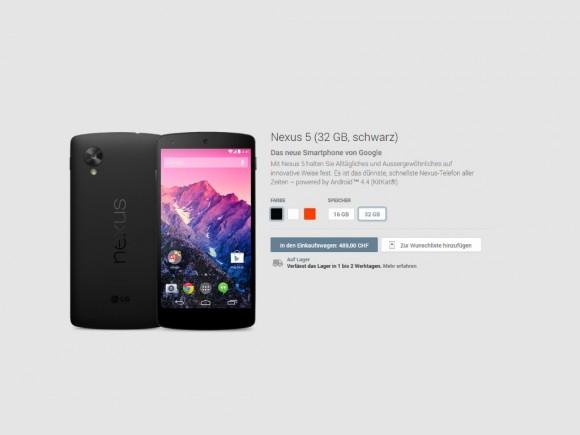Google verkauft Nexus5, Nexus 7 und Chromecast auch in der Schweiz (Screenshot: ZDNet.de)