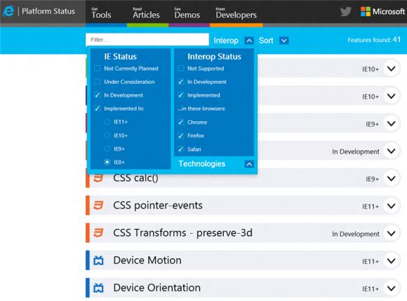 Aktuelle und künftige IE-Funktionen listet die Webseite status.modern.ie auf (Bild: Microsoft).