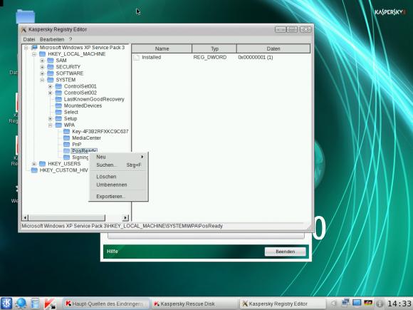 Kaspersky Rescue Disk: Registry Editor