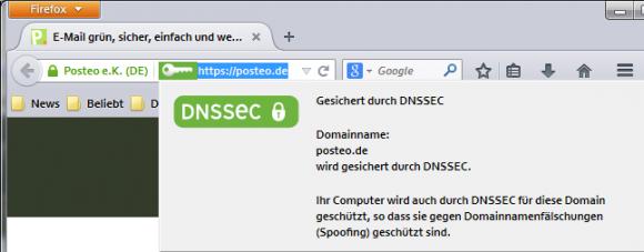 Posteo fürht DANE ein. Mit entsprechenden Browser-Add-ons lässt sich die Technik nutzen (Bild: ZDNet.de).