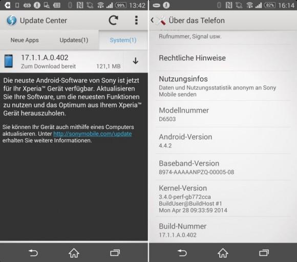 Das Update für das Android-Smartphone Xperia Z2 ist rund 121 MByte groß und steht auch für das Xperia Z2 Tablet in der WLAN- und LTE-Ausführung zum Download bereit (Screenshot: CNET.de).